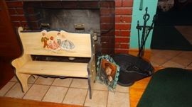 HAND PAINTED CHILDREN'S/ DOLL BENCH, COAL SCUTTLE