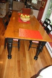 Gorgeous Handmade Tiger Maple Country Kitchen Table with four chairs.