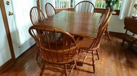 Hitchcock dinette with two leaves and six chairs