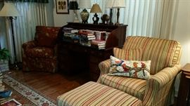 Wesley hall easy chair with matching ottoman