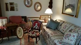 Antique chair, Wesley Hall patterned sofa