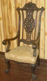 Fantastic Carved Back Arm Chair w/Claw & Ball Feet