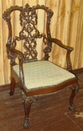 Super Ornate Carved Back Arm Chair