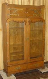 Oak Double Door Bookcase w/2 Small Doors At Top
