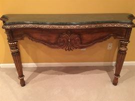 Designer Sofa Table with green marble top.