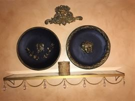 Home/Wall accents. Glass shelf with crystals, accent plate, medallion, decorative candle. Can be sold as a set or separately.