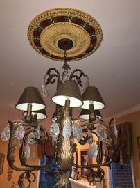 6 light Chandeliers with shades & shattered glass crystal. Hand painted Ceiling Medallion also available.