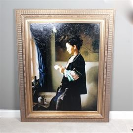 """Jie-Wei Zhou Giclee on Canvas """"The Letter"""": A hand touched giclee on canvas titled The Letter by Jie-Wei Zhou. The image shows a young woman standing by a window reading a letter. It is signed in Chinese and English in the lower right corner. The image comes with a Certificate of Authenticity from Manitou Galleries in Santa Fe, NM, indicating this is number 21 from a limited edition of 150."""