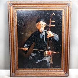 """Jie-Wei Zhou Giclee on Canvas """"Han Man"""": A hand touched giclee on canvas titled Han Man by Jie-Wei Zhou. The image shows an elderly man seated playing a stringed instrument. It is signed in Chinese and English in the lower right corner. The image comes with a Certificate of Authenticity from Manitou Galleries in Santa Fe, NM, indicating this is number 24 from a limited edition of 150. It is presented in a gold tone frame."""