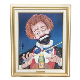 """Red Skelton Limited Edition Giclée """"Conducting Beethoven's Fifth"""": A limited edition giclée on canvas by entertainer and artist Red Skelton (1913-1997). Titled Conducting Beethoven's Fifth this depicts a clown, with a broken and visibly taped conducting wand , a champagne bottle with Beethoven as the label on the bottle, and mugging for the viewer, against a vibrant blue background. It is signed and dated """" Red Skelton 1991"""" in the plate on the left side, and signed again next to this by hand and to the back is an authorized reproduction stamp, and numbered """"1450"""" out of an edition of 5,000. This work is presented in a gold-tone wooden frame, with a linen lined inner border, that is wired for hanging."""