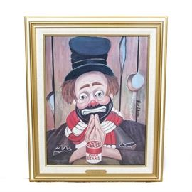 """Red Skelton Limited Edition Giclée """"My Thanks"""": A limited edition giclée on canvas by entertainer and artist Red Skelton (1913-1997). Titled My Thanks, this depicts a clown in his classic tattered black top hat with red and white scarf, his hands pressed together with a can of pork beans to the front. It is signed and dated """"Red Skelton 1991"""" in the plate on the right side, and signed again next to this by hand and to the back is an authorized reproduction stamp, and numbered """"1795"""" out of an edition of 5,000. This work is presented in a gold-tone wooden frame with a linen lined inner border."""