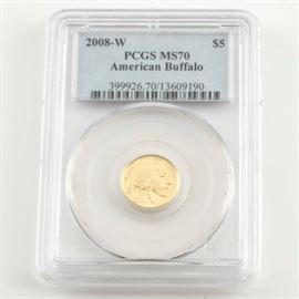 Graded MS70 (By PCGS) 2008 W $5 American Buffalo Gold Coin: An encapsulated and graded MS70 (By PCGS) 2008 W $5 American Buffalo gold coin. Designer: James Earle Fraser. Mintage: 17,429. Metal content: 99.99% gold. Diameter: 16.5 mm. Weight: 3.11 grams. Very good condition.