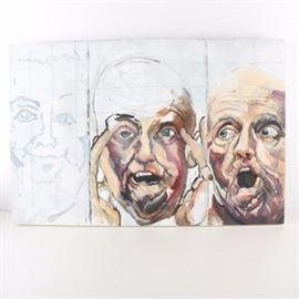 Ronald Fritkin Oil Painting on Canvas of Three Faces: An oil painting on canvas by Ronald Fritkin (American, 1944 – 2008) of three faces. Two of the faces are bald men with startled expressions. the expression on the third face, which is only lightly sketched in, is unclear. The painting is unframed and not signed.