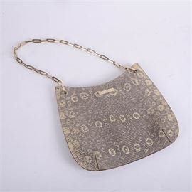 """Gucci Snakeskin Print Canvas Pochette: A Gucci snakeskin print canvas shoulder bag, serial #00141700-203569. This slim bag features a 10"""" gold tone link strap, a Gucci name plate, and a magnetic top closure."""