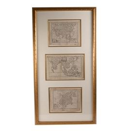 Framed Antique Maps of Asia and East Indies: Framed antique maps of Asia and the East Indies. The three maps feature a white mat and are housed in a gilded wood carved frame with a wire for hanging to the verso.