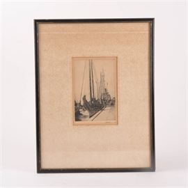 M.S. Kerr Signed Antique Etching of Boats In Harbor: An antique etching of boats in harbor signed M.S. Kerr c.1930. The etching features boats docked at a harbor. The piece is pencil signed and dated by the artist in the lower right margin. The print has a light tan mat and is housed behind plexiglass in a black wood frame with a wire for hanging to the verso.