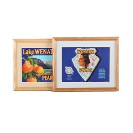 Framed Vintage Fruit Crate Labels for Wenatchee and Wenoka Pears: A set of two mid-century offset lithograph fruit crate labels on paper, each with brightly colored graphics. Featured is a label for Lake Wenatchee brand pears of Cashmere, Washington. The piece is matted in tan and presented under glass in a wooden frame with a sawtooth hanger to the verso. Also included is a label for Wenoka brand pears from Wenatchee, Washington. The label is matted in pale blue and presented under glass in a wooden frame with a sawtooth hanger to the verso.