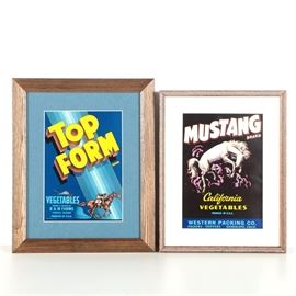 Framed Vintage Vegetable Crate Labels for Mustang and Top Form Brands: A set of two mid-century offset lithograph vegetable crate labels on paper, each with brightly colored graphics depicting horses. Featured is a label for Top Form brand vegetables of Phoenix, Arizona; the print depicts a racehorse and jockey. It is matted in blue and presented under glass in a wooden frame with a sawtooth hanger to the verso. Also included is a label for Mustang brand vegetables of Guadalupe, California; it depicts a bucking white horse. The label is matted in white and presented under glass in a wooden frame with a sawtooth hanger to the verso.