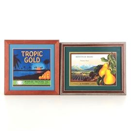 Framed Vintage Fruit Crate Labels for Tropic Gold Oranges and Repetition Pears: A set of two mid-century offset lithograph fruit crate labels on paper, each with brightly colored graphics. Featured is a label for Tropic Gold brand oranges from Seville, Florida. The piece is matted in blue and presented under glass in a wooden frame with a sawtooth hanger to the verso. Also included is a label for Repetition brand pears from Yakima, Washington. The label is matted in dark green and presented under glass in a wooden frame with a sawtooth hanger to the verso.