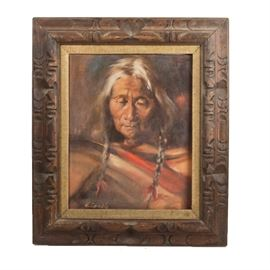 "H. Gamble Native American Portrait Oil Painting on Canvas: An original signed oil painting portrait depicting a Native American, by artist H. Gamble. The painting depicts a white haired Native American with hair worn in two braids. The painting is signed to the lower left ""H. Gamble"", and is presented in a rustic wood frame with a burlap fillet, with a hanging wire on the back."