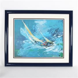 "After LeRoy Neiman Framed Serigraph ""Sailing"": A framed serigraph after an original 1977 painting titled Sailing by well known artist LeRoy Neiman (American, 1921-2012). The image depicts an Impressionist-style rendering of a sailboat at sea being tossed about violently in the waves. It is plate signed and dated to the lower right corner, set in a complimentary white mat and presents behind glass in a lacquered black frame with a mounting wire to the verso."