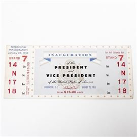 1953 Dwight D. Eisenhower Presidential Inauguration Ticket: A ticket to the first Inauguration of 34th U.S. President Dwight D. Eisenhower, which took place on January 20, 1953 at the State Capitol in Washington, D.C. This particular ticket cost a total of $15 in 1953 which calculates to approximately $135 in 2017. It was printed by Globe Ticket Company. The ticket stub is still attached.