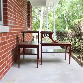 """Vintage Mahogany Step-Back Tables by Mersman: A pair of vintage mahogany step-back end tables by Mersman. Each table features a rear shelf supported by turned columns and curved supports with an x-stretcher between them. It rises on four square, tapered legs with pressed foliate detail at the apron. Marked """"Mersman 7536"""" to the underside."""