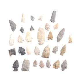 Chert Arrowheads and Tools: An assortment of chert arrowheads and stone tools. Included are various sized bifacial point arrowheads and hand scrappers.