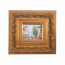 """Bernett Oil Painting on Canvas Parisian Street Scene: An original signed oil painting on canvas depicting a Parisian street scene, signed """"Bernett"""". The painting is rendered in an abstract manner, with thick impasto paint strokes. It is presented in an ornate gilded frame with a hanging wire on the back."""