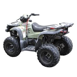 """Polaris 90 Sportsman ATV: A 2001 Polaris 90 Sportsman all-terrain vehicle. The VIN is RF3FA09C62T048607. The body of the vehicle is olive green, with a black vinyl upholstered seat. It has a rack attached on the front and one on the back, which are made of high density plastic, with pierced surfaces to allow items to be lashed in place. A label on the vehicle is marked with the date """"03/12/2001"""", VIN, and """"Made in Taiwan by Aeon Motor Company for Polaris Industries""""."""
