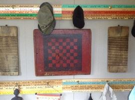 Cute old wash boards and checkers
