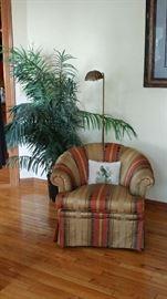 Upholstered Bucket Chair, Brass Floor Lamp