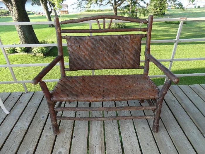 Antique Hickory setee.