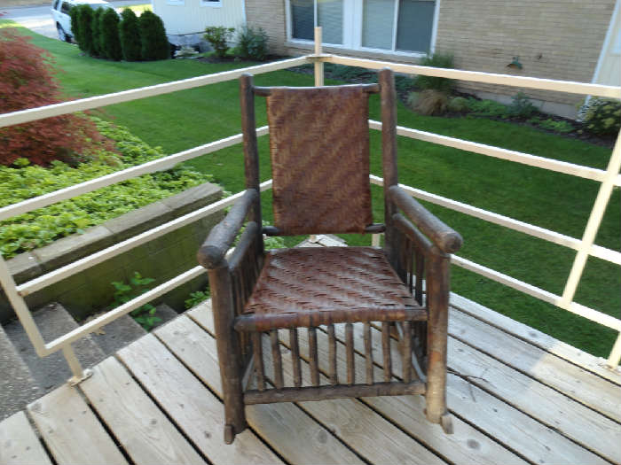 Antique Hickory rocking chair.  Very heavy and sturdy!