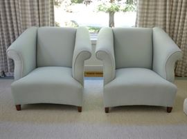Custom upholstered club chairs