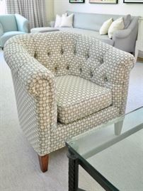 "One of two Lester Furniture club chairs with ""Alpaca"" pattern upholstery"
