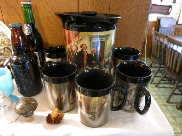 Vintage Thermo Serve Insulated Mugs And Pitcher American Series