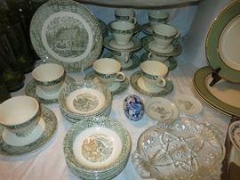 Green Transferware Dishes