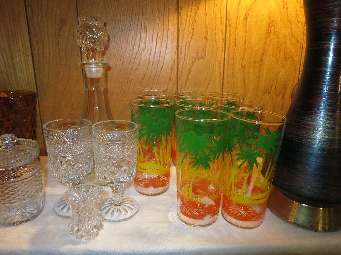 Vintage Palm Tree Tumblers, Glassware