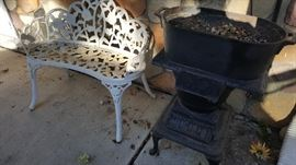 Vintage Cast iron stove and Bench