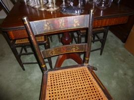 Nice set of antique cane seat plank chairs