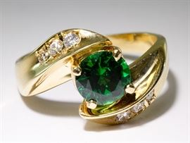 14k Gold Chrome Diopside and Diamond Ring
