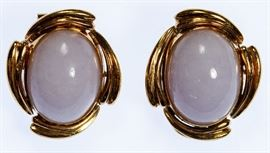14k Gold and Lavender Jade Clip Earrings