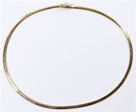 14k White Yellow Gold Omega Link Necklace