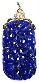 14k Gold Lapis Lazuli and Diamond Pendant