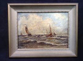 Hendrik Willem Mesdag Signed Oil Painting Ships At Sea