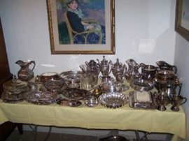 TABLE OF SILVER-PLATED ITEMS