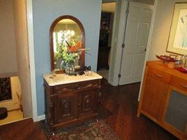 walnut marble top washstand