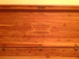Cedar chest with label intact