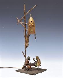 Franz Bergman cold painted bronze lamp, bid online at www.fairfieldauction.com